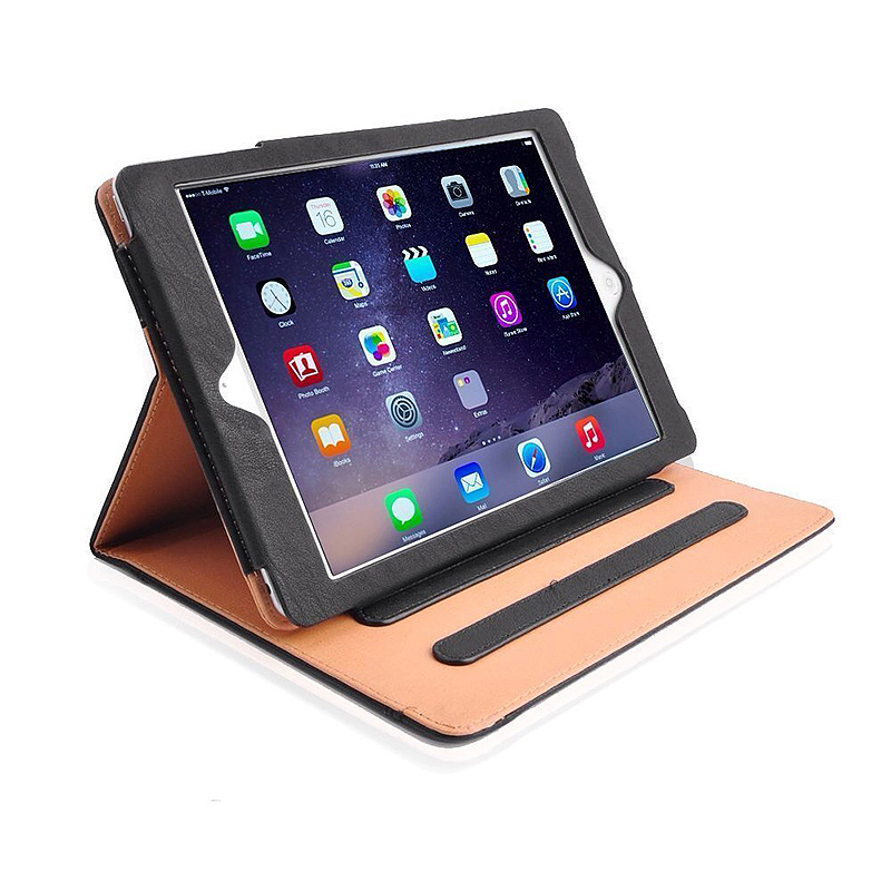iPad Magnetic PU Leather Case Smart Flip Wallet Stand Cover Shell for Apple iPad Air 2 - Black
