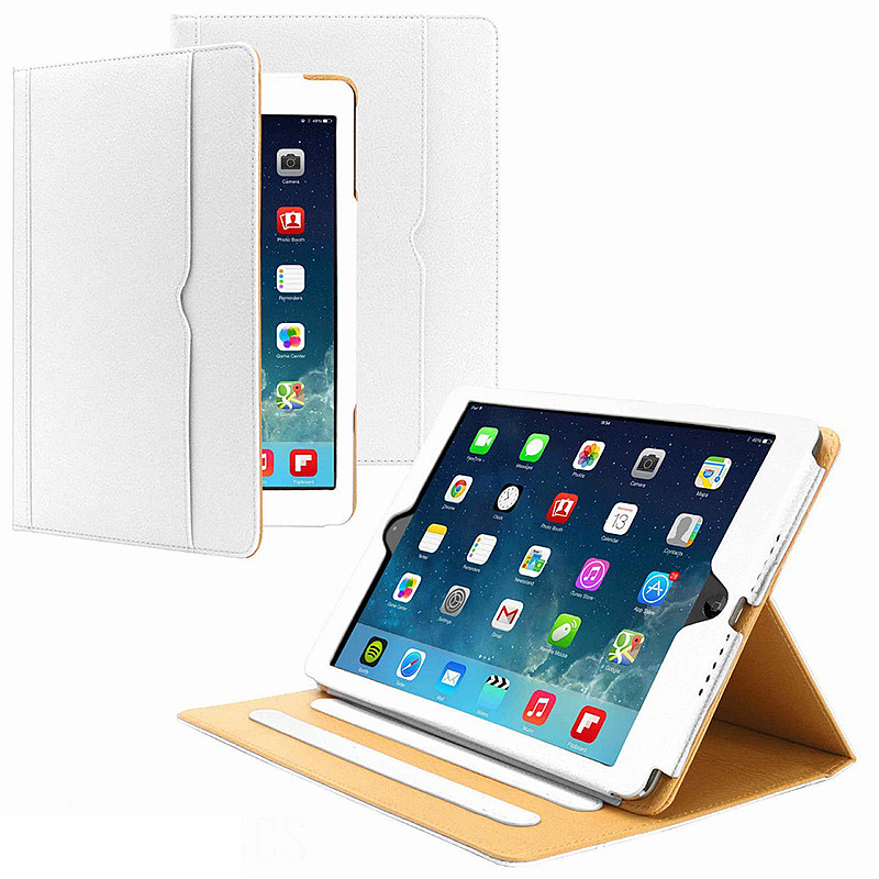 iPad Magnetic PU Leather Case Smart Flip Wallet Stand Cover Shell for Apple iPad Air 2 - White