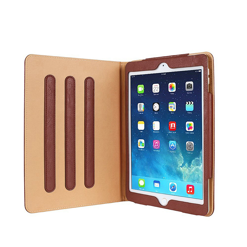iPad Magnetic PU Leather Case Smart Flip Wallet Stand Cover Shell for Apple iPad Air 2 - Brown