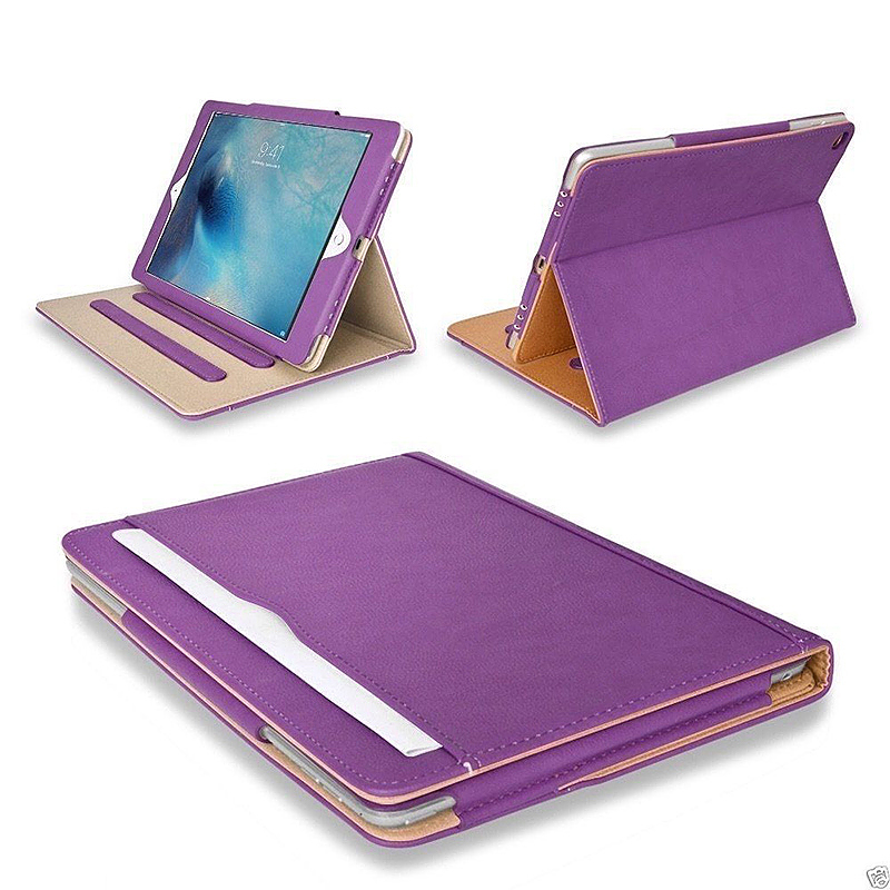 iPad Magnetic PU Leather Case Smart Flip Wallet Stand Cover Shell for Apple iPad Air 2 - Purple