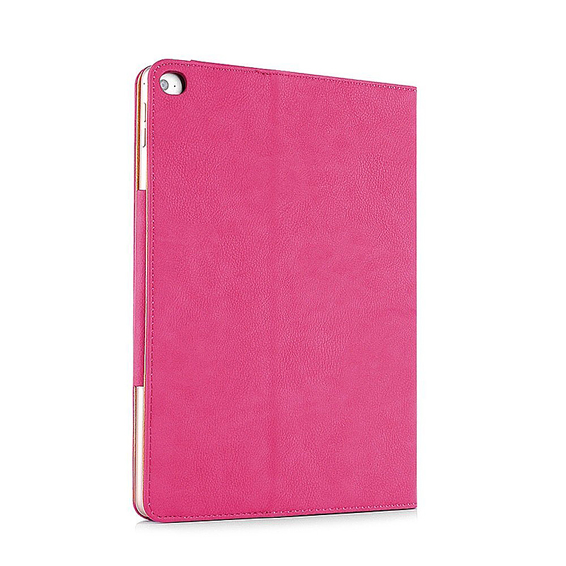 iPad Magnetic PU Leather Case Smart Flip Wallet Stand Cover Shell for Apple iPad Air 2 - Rose Red