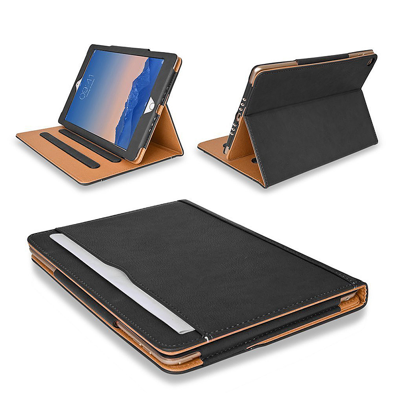 Luxury Smart Flip Cover Magnetic PU Leather Stand Wallet Case for iPad Air - Black