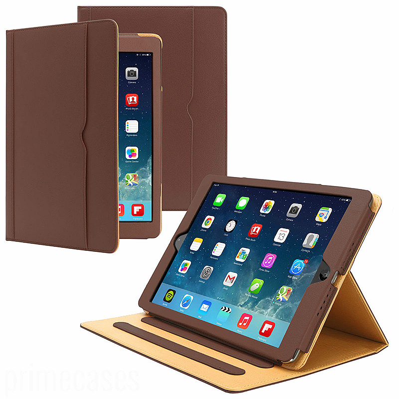 Luxury Smart Flip Cover Magnetic PU Leather Stand Wallet Case for iPad Air - Brown