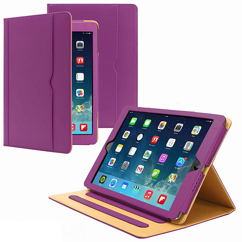 Luxury Magnetic Smart Flip Cover Stand Wallet PU Leather Case for Apple iPad 2/3/4 - Purple