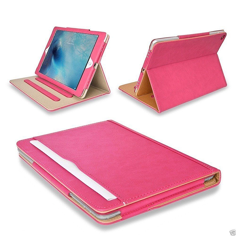 Smart PU Leather Slim Flip Stand Case Cover Magnetic iPad NEW 2017 Case - Rose Red