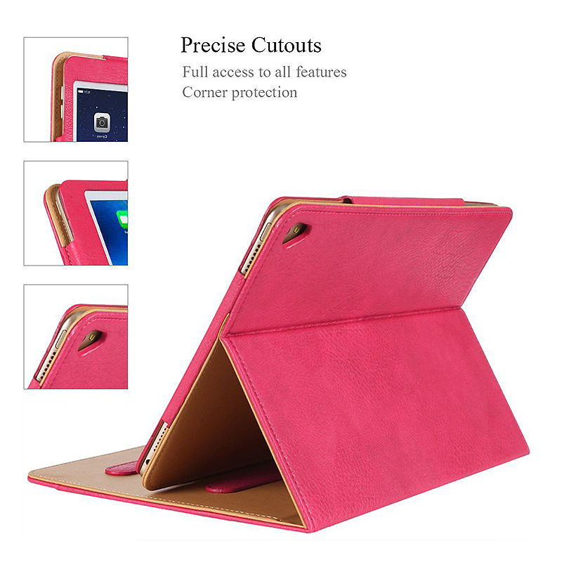 Luxury Magnetic Smart Flip Cover Stand Wallet PU Leather Case for iPad Pro 10.5 - Rose Red