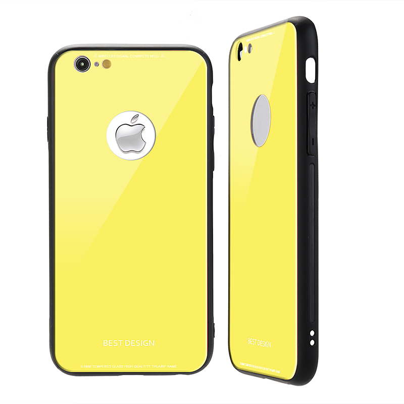 iPhone 6s Ultra Slim Tempered Glass Case Hard Shockproof Case Cover - Yellow