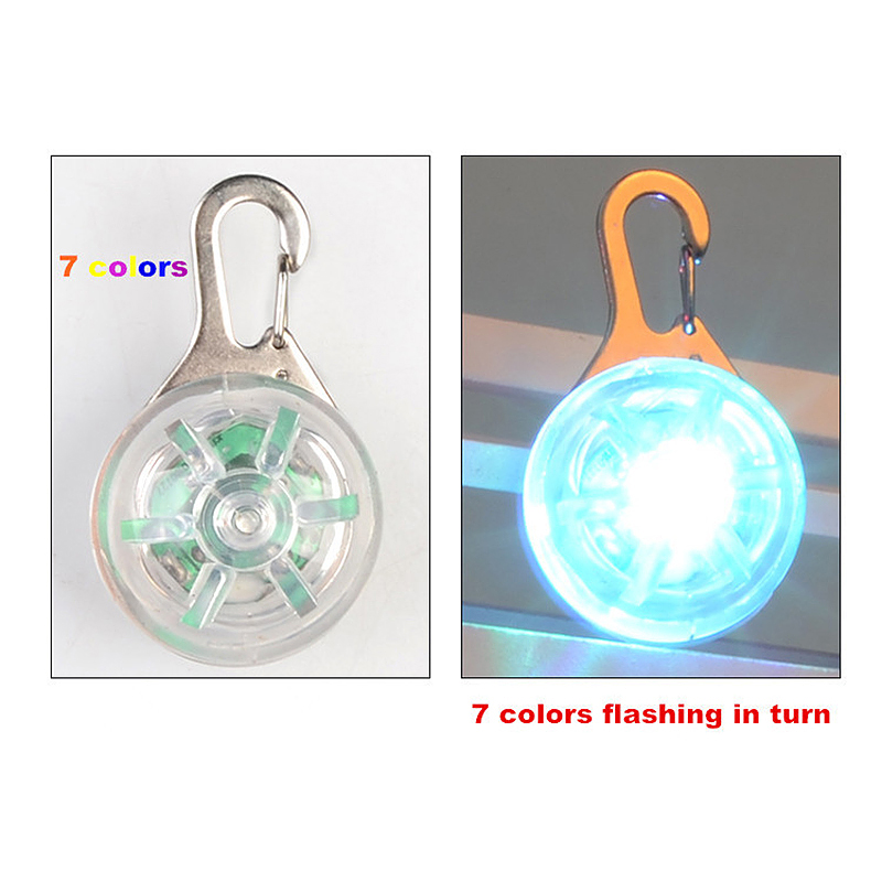 LED Pet Dog Cat Collar Buckle Night Light Safety Clip Flashing Neon Pendant - Colorful