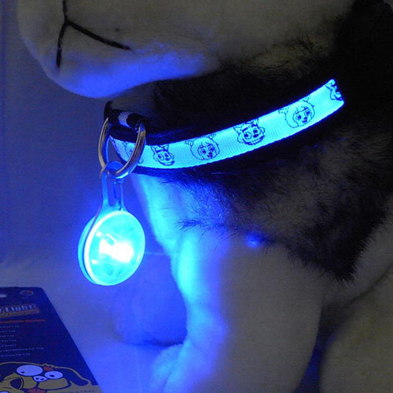 LED Pet Dog Cat Collar Buckle Night Light Safety Clip Flashing Neon Pendant - Blue
