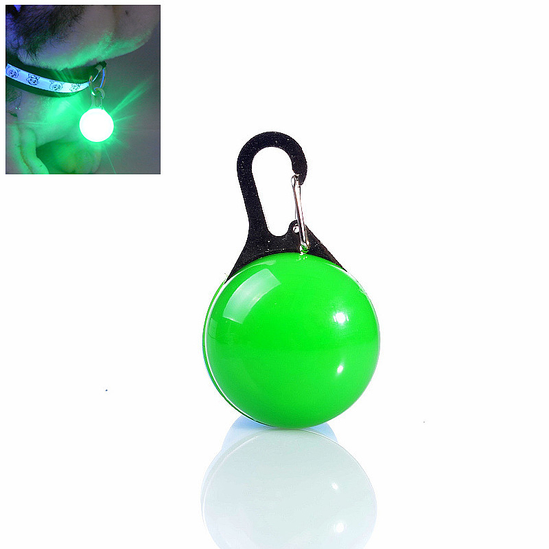LED Pet Dog Cat Collar Buckle Night Light Safety Clip Flashing Neon Pendant - Green
