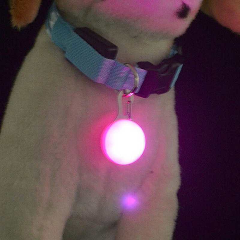 LED Pet Dog Cat Collar Buckle Night Light Safety Clip Flashing Neon Pendant - Pink