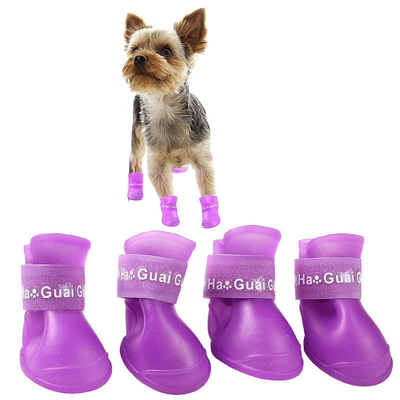 4Pcs Pet Antiskid Rain Shoes Dog Puppy Skidproof Waterproof Multi-Usage Boots Shoes Size L - Purple