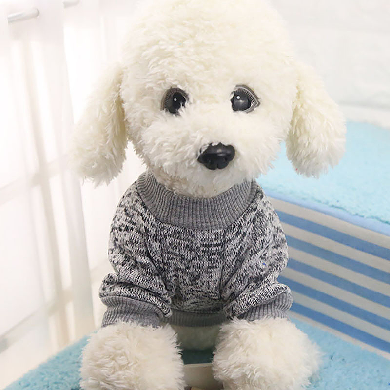 Size XS Pet Dog Puppy Cat Warm Clothes Coats Apparel Jumper Knitted Sweater Knitwear Costume - Grey
