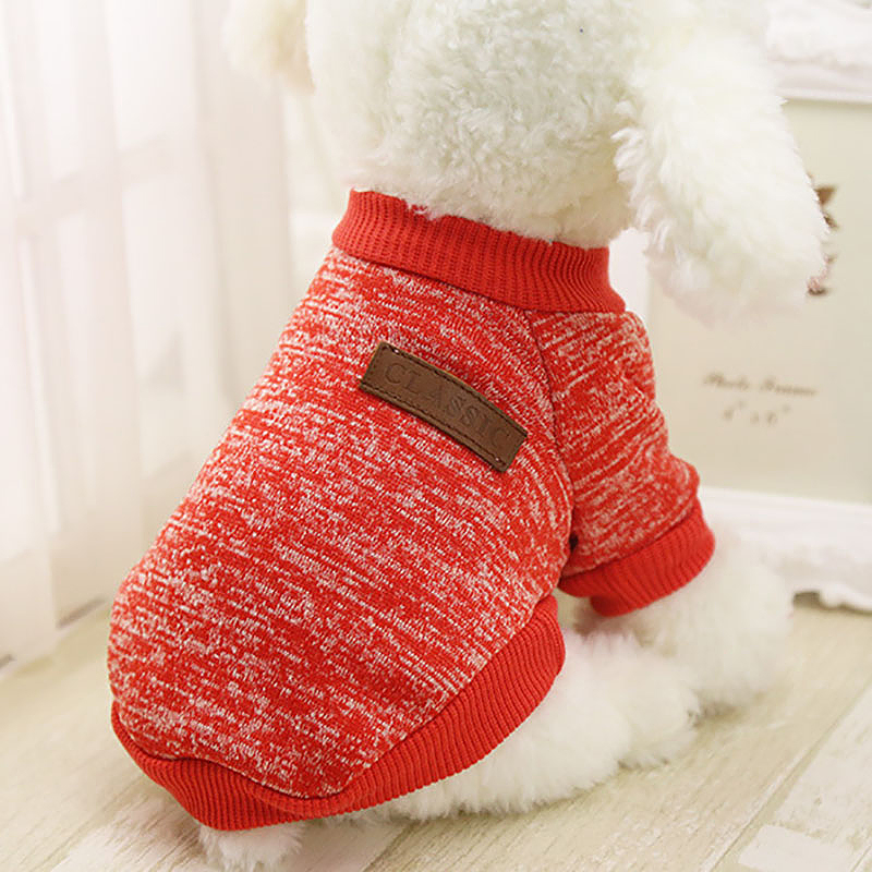 Size XS Pet Dog Puppy Cat Warm Clothes Coats Apparel Jumper Knitted Sweater Knitwear Costume - Red