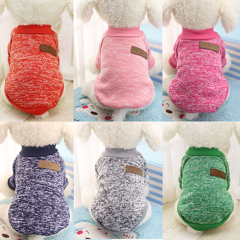 Size XS Pet Dog Puppy Cat Warm Clothes Coats Apparel Jumper Knitted Sweater Knitwear Costume - Rose Red