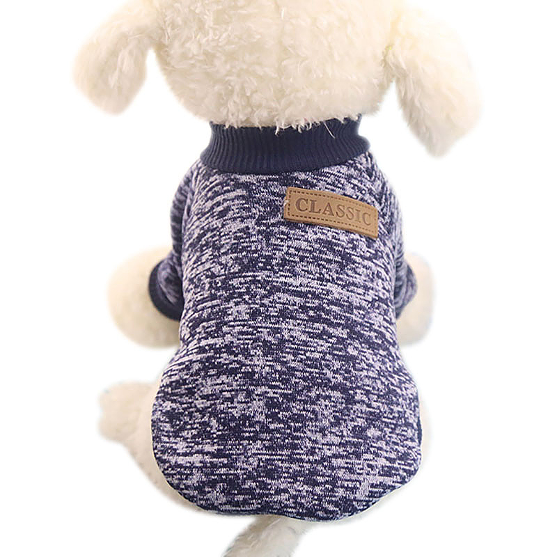 Size XS Pet Dog Puppy Cat Warm Clothes Coats Apparel Jumper Knitted Sweater Knitwear Costume - Navy Blue