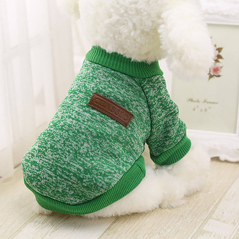Size XS Pet Dog Puppy Cat Warm Clothes Coats Apparel Jumper Knitted Sweater Knitwear Costume - Green