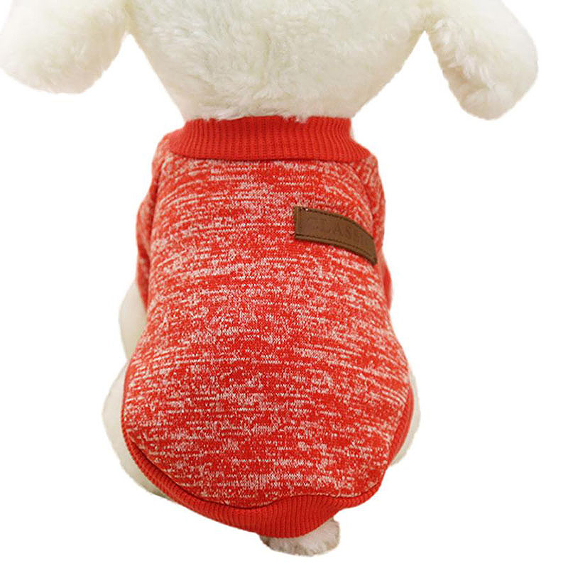 Pet Warm Knitted Sweater Coat Dog Cat Cute Costume Apparel Jumper Clothes Size S - Red