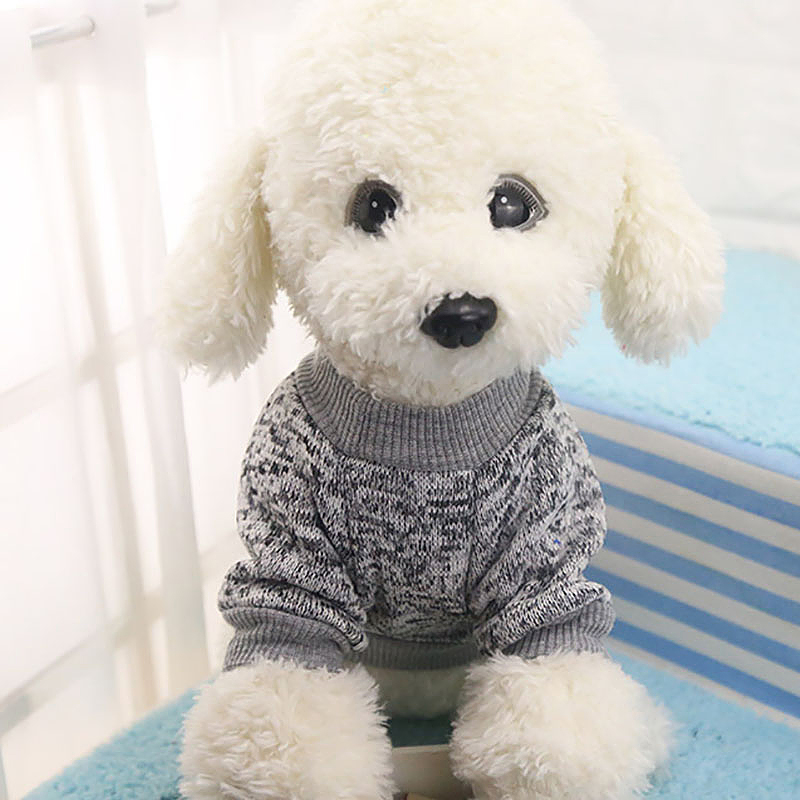 Pet Coat Dog Jacket Winter Clothes Puppy Knitted Sweater Clothing Coat Apparel Size M - Grey
