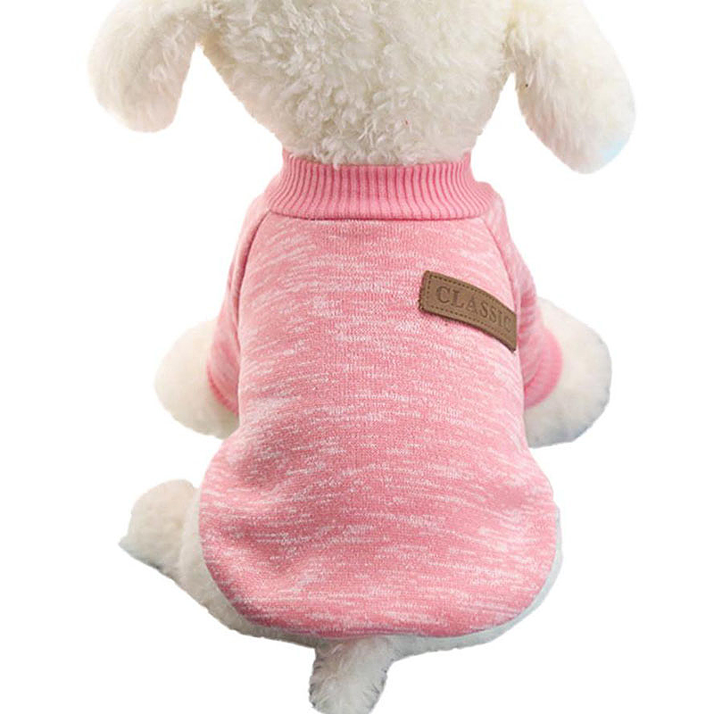 Pet Coat Dog Jacket Winter Clothes Puppy Knitted Sweater Clothing Coat Apparel Size M - Pink