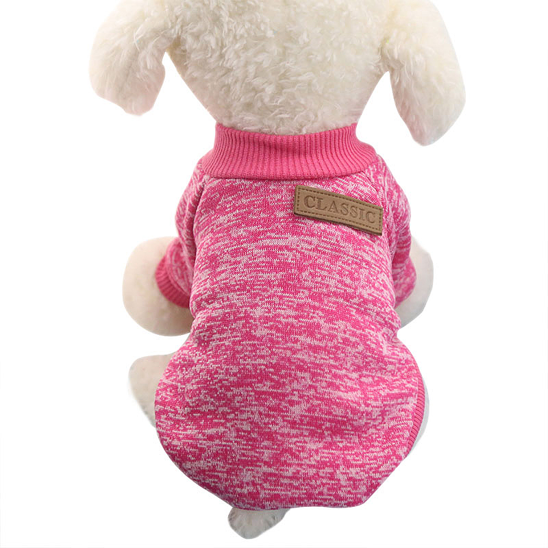 Pet Coat Dog Jacket Winter Clothes Puppy Knitted Sweater Clothing Coat Apparel Size M - Rose Red
