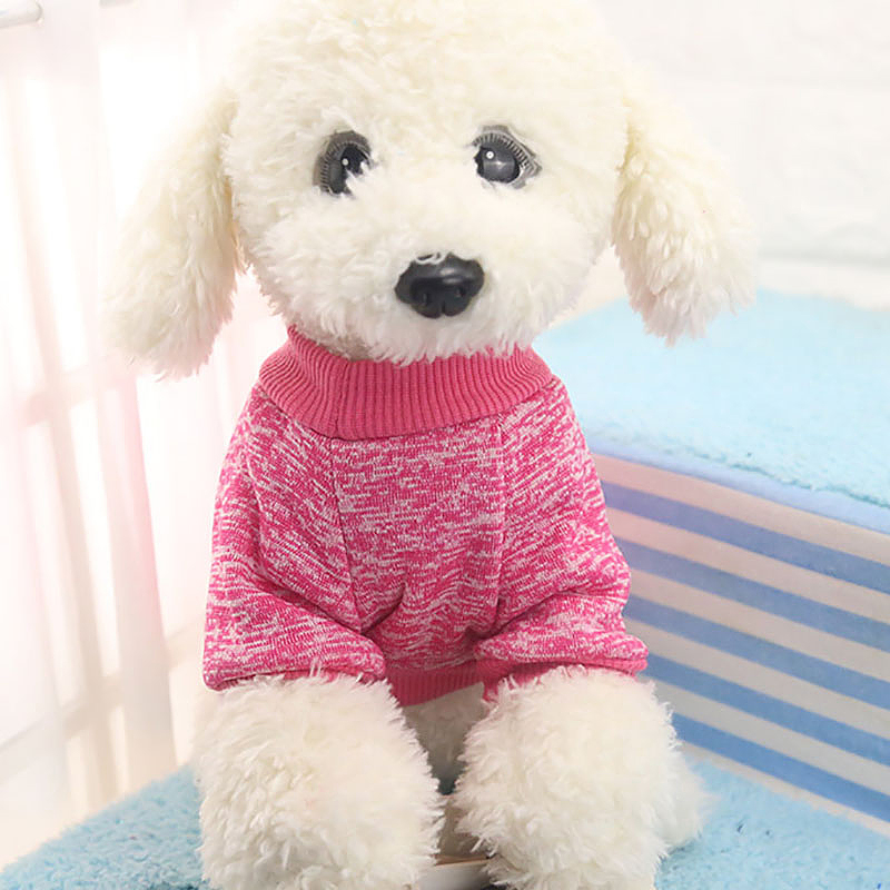 Pet Dog Warm Jumper Coat Sweater Clothing Puppy Kintwear Costume Lovely Size L - Rose Red