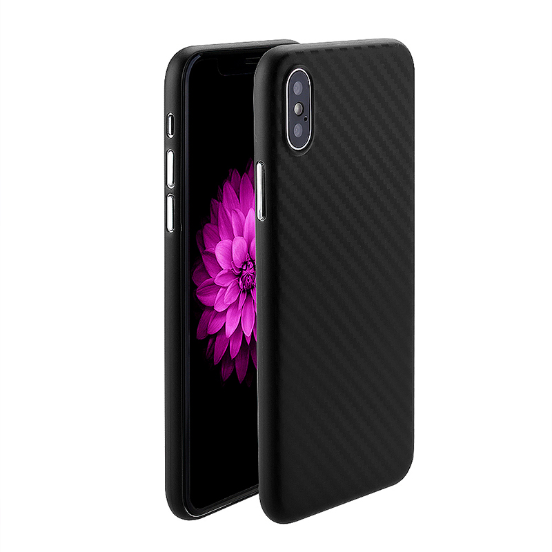 iPhone X/XS Ultra Slim Thin Carbon Fiber Surface PC Case Shockproof Back Cover - Black