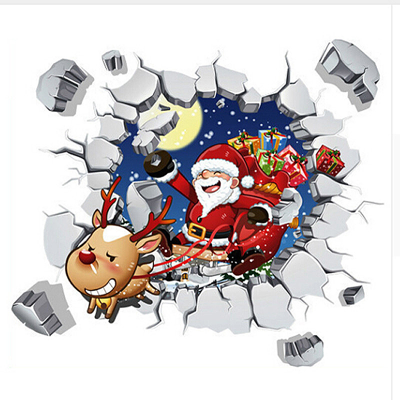 Christmas 3D Santa Removable Wall Sticker Art Home Decal Decor Xmas Gift - ABQ6005