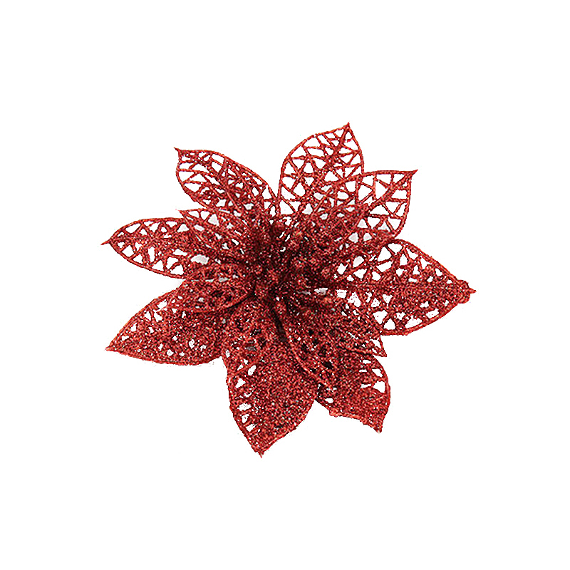 10cm Christmas Glitter Poinsettia Flower Decor Xmas Wreath Crafts Decorations - Red
