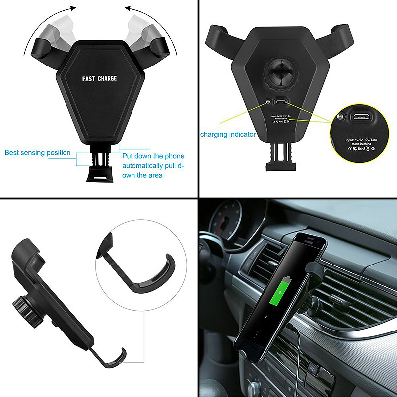 Wireless Car Mount Air Vent Phone Holder Standard Charger for iPhone 8/X Samsung S8 - N5-1