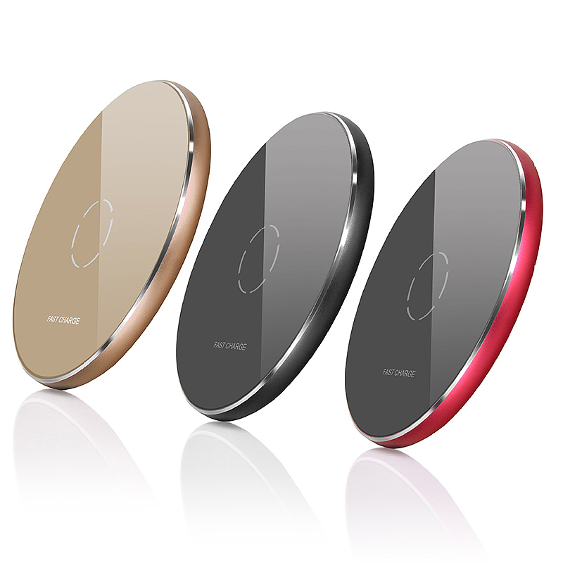N9 Wireless Charger Portable Metal Circular Charging Pad for iPhone 8/X - Red