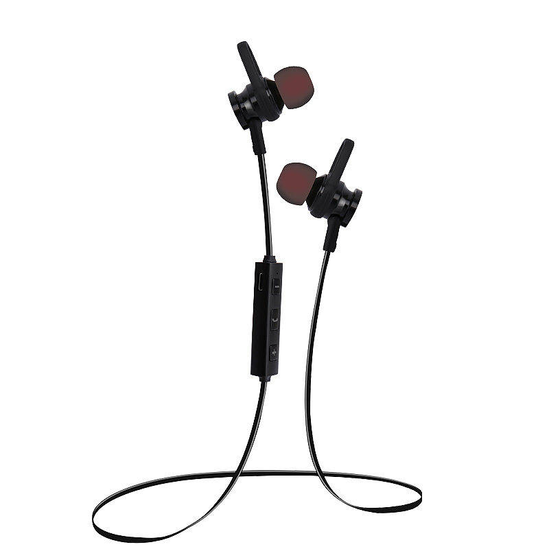 RS-01 Wireless Magnetic Stereo Bluetooth 4.1 Earphone Hands-Free Sport Headset with Mic - Black