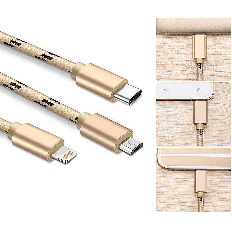 1M 3 in 1 Micro USB/Lightning/Type C Multiple Portable Braided Charging Cable for iPhone 8/X Samsung - Gold