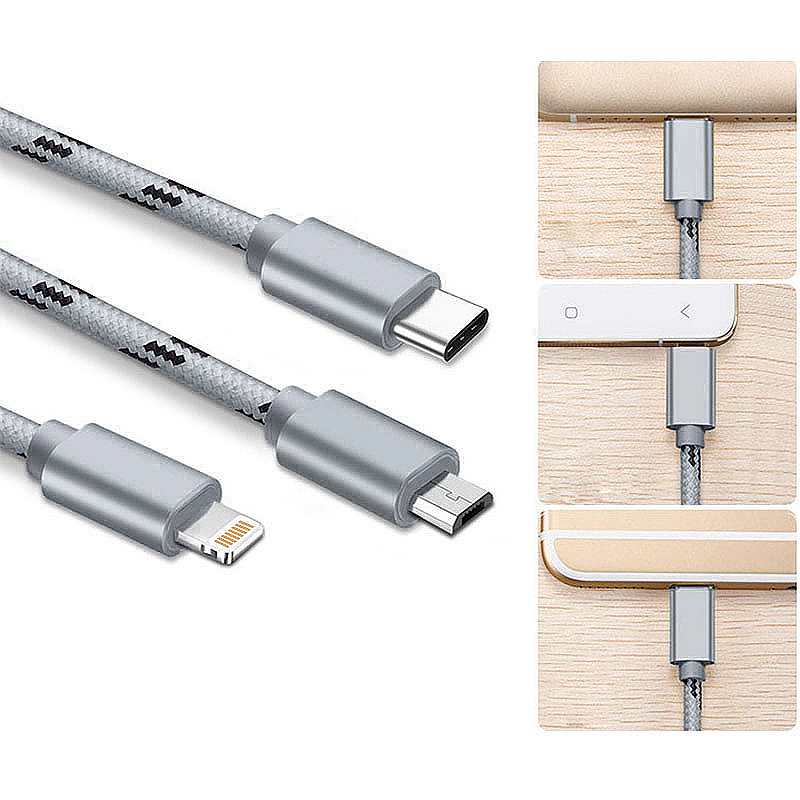 1M 3 in 1 Micro USB/Lightning/Type C Multiple Portable Braided Charging Data Cable for iPhone 8/X Samsung - Grey