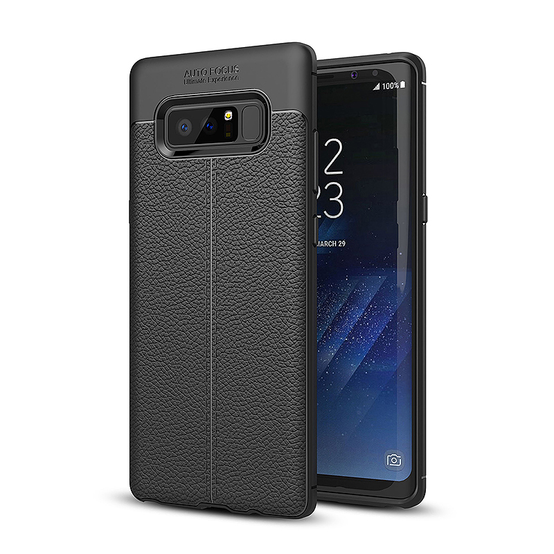 Soft TPU Silicone PU Leather Striae Ultra Slim Case Cover for Samsung Galaxy Note 8 - Black