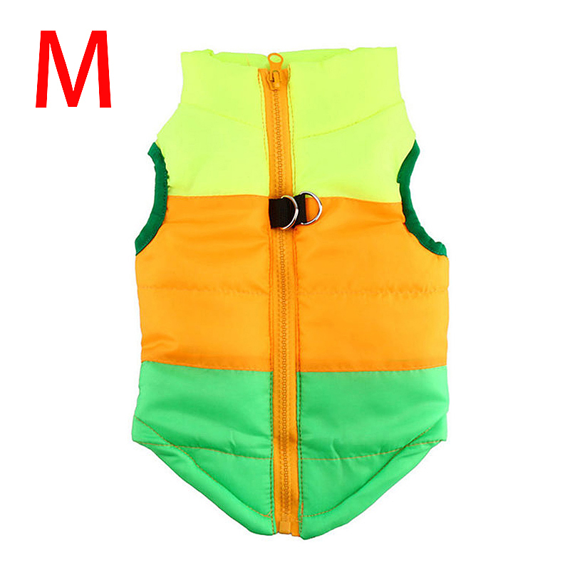 Soft Pet Dog Cat Puppy Winter Vent Coat Pulling Buckle Jacket  - Size M