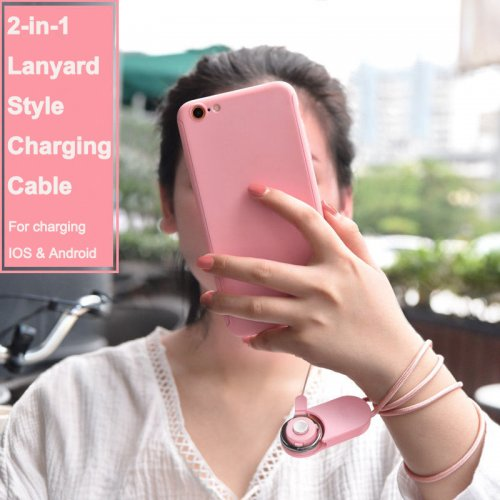 Double-sided USB Cable 2-in-1 Micro USB Lightning Charge Cable for iPhone X 8 Samsung - Pink