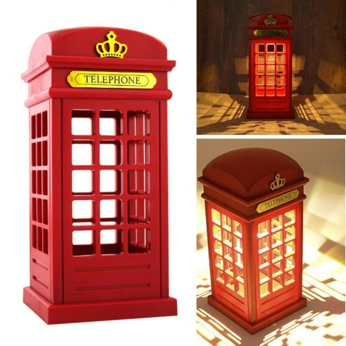 Vintage Touch Light Sensor Telephone Booth Desk Lamp Night Light Christmas Gift