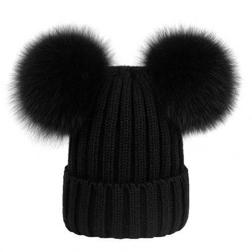 Girls Women Winter Warm Double-Fur Beanie Cap Chunky Knit Leisure Lovely Hat - Black
