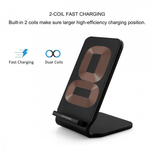 N11 Wireless Stand Fast Charger Portable Fantasy Charging Pad Mat for Samsung S8 iPhone 8/X - Black