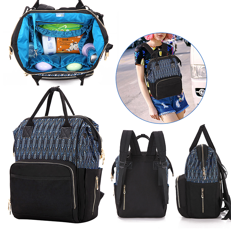 New Multifunction Mummy Diaper Nappy Baby Charging Bag Travel Backpack - Black