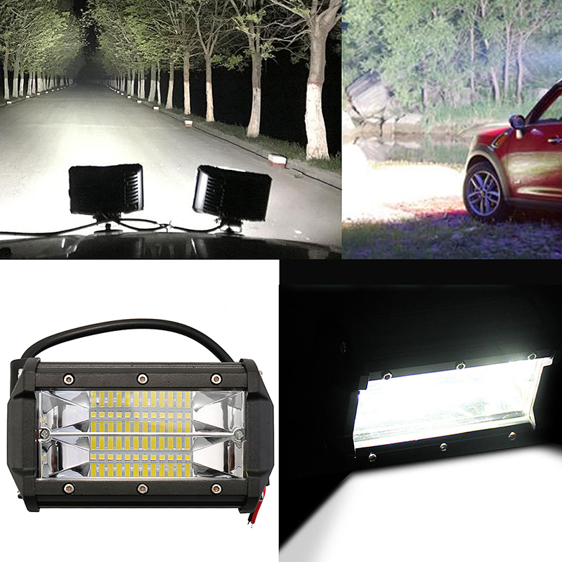 "2 X 5/"" Inch 72W LED Work Light Car Spot Flood Bar Fog Lamp for Jeep SUV Offroad"