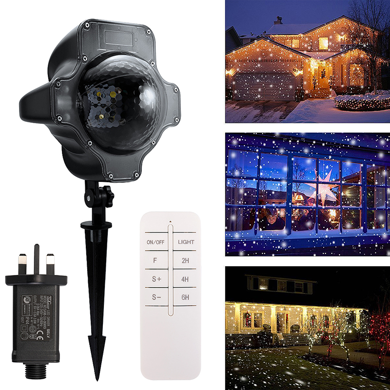 Snowflake LED Laser Projector Light Outdoor Garden Indoor Moving Control Xams Light Lamp UK