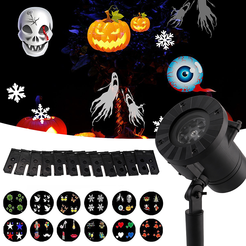 Snowflake LED Laser Projector Light 12 Plug-in Card Outdoor Garden Waterproof Decor Xmas Lights Lamp UK