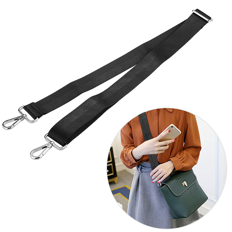 DIY Adjustable Bag Shoulder Strap Crossbody Canvas Replacement for Handbag 135cm - Black