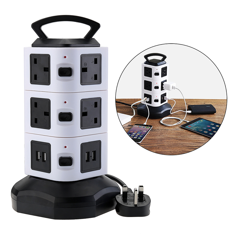 10 Way 4 USB Ports USB Charger Power Socket Charge Plug with 3m Extension Lead - Black