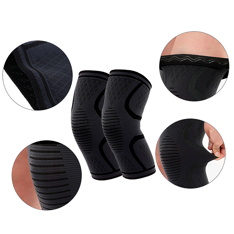 1 Pair Self-Heating Anti-slip Knee Support Pad Arthritis Brace Protective Belt Black - Size S