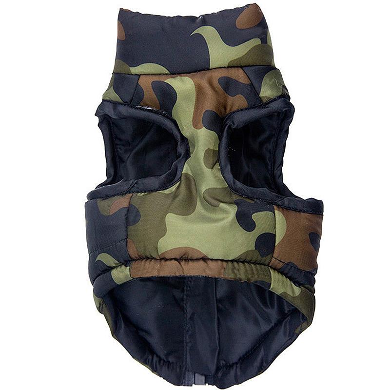 Pet Dog Puppy Winter Vest Jacket Coat Warm Comfy Soft Pet Costume Apparel Green Camouflage - Size L