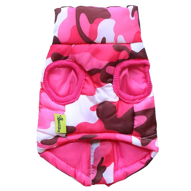 Pet Dog Puppy Vest Jacket Comfy Soft Winter Warm Pet Coat Costume Pink Camouflage - Size S