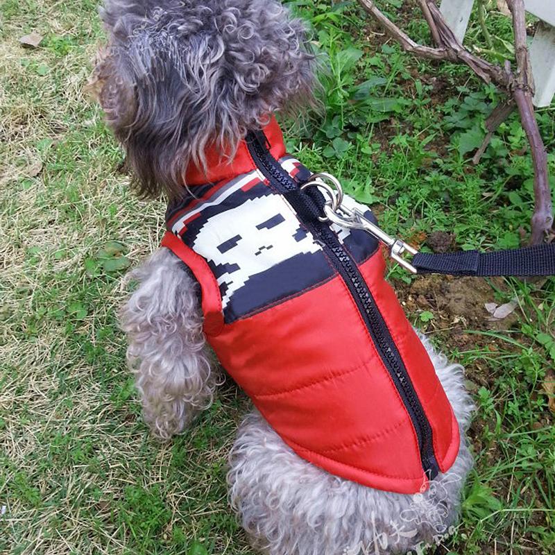 Comfy Soft Pet Warm Vest Jacket Dog Puppy Winter Coat Costume Red Skull - Size XL